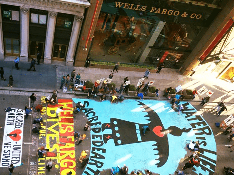 Anti-DAPL Mural Painted Outside Wells Fargo